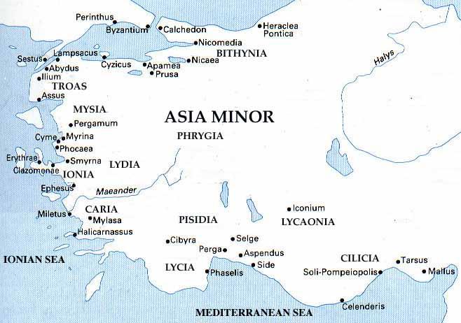 Map Of Asia Minor.Csofionia Htm